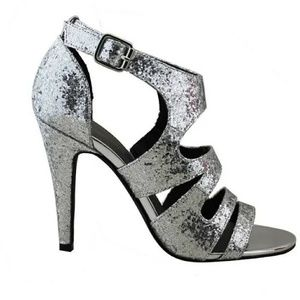 New Silver Glitter PU Caged Sandals